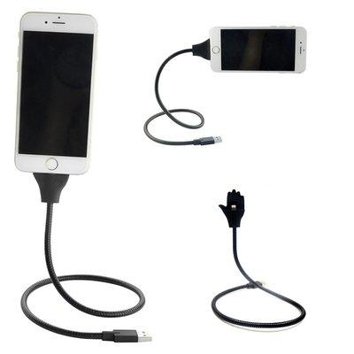 Apple Lightning Laad & Data Kabel & Standaard / Sterkste Oplaadkabel en Telefoonhouder / 50 cm Metalen Kabel & Houder voor iPhone 5/6/7/8/X en iPad