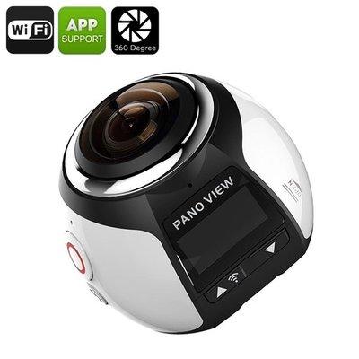 360 graden Camera 4K PANOVIEW 30M waterdicht case, 16MP, FHD 2448P, 30FPS, HDMI, WI-FI (zilver)