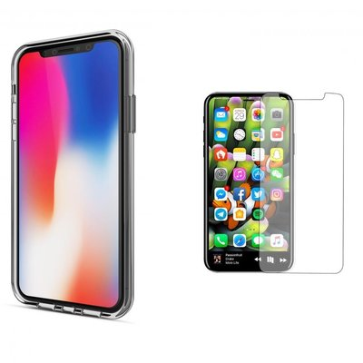 iPhone X Transparant Barely There TPU Case + Tempered Gorilla Glass / Glazen Screenprotector 0,3 mm | iPhone X Hoes + Glazen Tempered Screenprotector