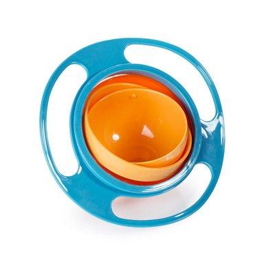 Gyro Bowl | Anti Mors Snackbakje voor Kinderen | Magic Bowl Anti Knoei 360 graden | Kleur Blauw Oranje