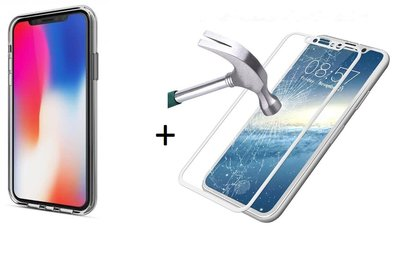iPhone X Transparant Barely There TPU Case + Full Front Tempered Gorilla Glass | iPhone X Hoes + Volledig Glazen Tempered Screenprotector