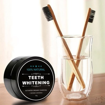 Natural Teeth Whitening | Activated Charcoal Tandenbleker | Bamboo Activated Charcoal | Inclusief 2 Bamboe Tandenborstels