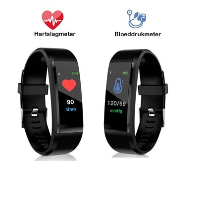 Fitness Activity Tracker met Hartslagmeter en Bloeddrukmeter | Fitness Activity Tracker Smart Watch met OLED Kleurendisplay en Nederlandstalige App
