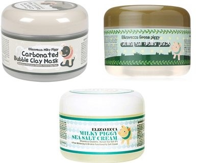 3x Elizavecca Gezichtsmaskers | Milky Piggy Carbonated Bubble Clay Mask | Milky Piggy Green Piggy Collagen Jella Pack | Milky Piggy Sea Salt Cream Mask
