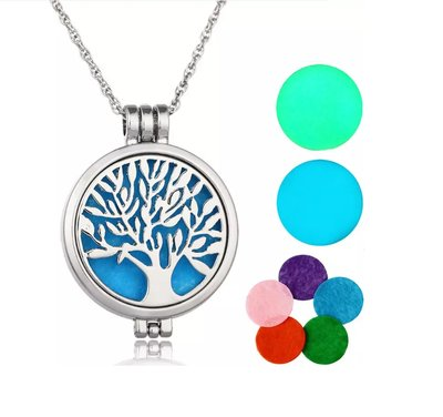 Tree of Life Geur Ketting | Geurketting met Aroma Therapie Medaillon | Tree of Life Geur Hanger 50 mm met Ketting 60cm + 5 Geurpads
