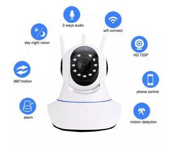 Draadloze HD IP Camera   WiFi Smart Bewakings Camera met Nachtvisie   Baby Monitor   360 Graden Draaibaar   Te bedienen via Smartphone en/of Tablet