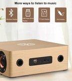 3 in 1 Houten Draadloze Wekker Qi Charger met 4 Speakers | Draadloos Houten Qi Oplader | Draadloze Bluetooth Speaker Hout | Retro Style_