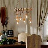 Retro Touw LED Hanglamp Bamboe   Vintage Scheepstouw met 6 Fittingen Hang Lamp   Bamboo Vintage LED Light   Dimbare Bamboe Verlichting_