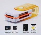 Multifunctionele SD kaart lezer USB stick, leest micro SD, SD, MS kaart, M2 kaart | Connection Kit | USB 2.0 | Adapter_