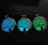 Tree of Life Geur Ketting | Geurketting met Aroma Therapie Medaillon | Tree of Life Geur Hanger 50 mm met Ketting 60cm + 5 Geurpads_