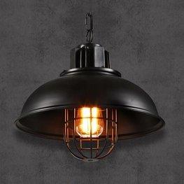 Stoere Robuuste Retro Industriële Hanglamp   Vintage Metalen Bar Cafe Style Hang Lamp   Inclusief Edison Filament Lichtbron   Kleur Zwart