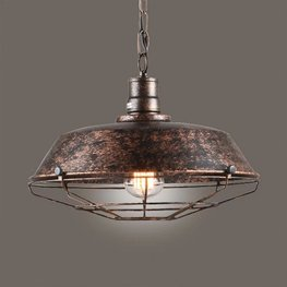 Stoere Robuuste Retro Industriële Hanglamp   Vintage Metalen Bar Cafe Style Hang Lamp   Inclusief Edison Filament Lichtbron   Kleur Roestkleur