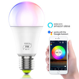 WiFi Smart Bulb E27 LED Lamp| RGB & Warm Wit WiFi Lamp E27 | Slimme LED Spot werkt met Google Home, Alexa & Siri