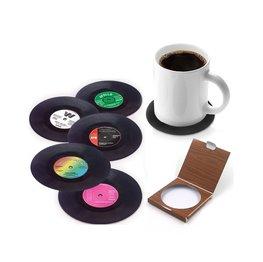 Retro Vinyl Onderzetters   LP Onder Zetters   Vinyl Coasters 45 RPM 6 stuks in Geschenkverpakking