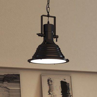 Stoere Robuuste Vintage Industriële Hanglamp | Retro Metalen Bar Cafe Style Hang Lamp | Inclusief Edison Filament Lichtbron | Kleur Zwart