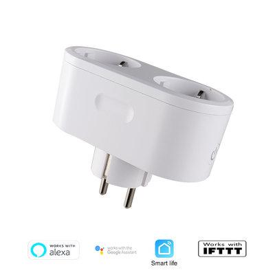 WiFi Smart Socket Dual| Slimme WiFi Stekker Plug | Smart Socket werkt met App Control | Spraakbesturing via Google Home en Amazon Alexa | Dual Stekker