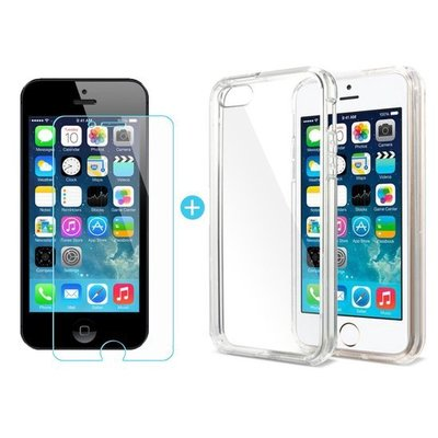 iPhone 5/5S/SE Transparant Barely There TPU Case + Tempered Gorilla Glass / Glazen protector 0,3 mm