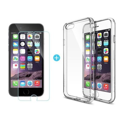 iPhone 6/6S Transparant Barely There TPU Case + Tempered Gorilla Glass / Glazen protector 0,3 mm