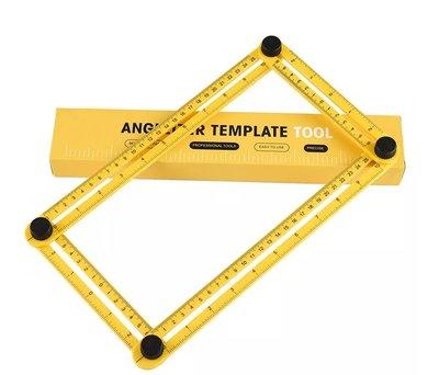 Multi Angle Duimstok | Meer Hoekige Meet Liniaal | Hoek IJzer | Vier Hoekige Meetinstrument | Hoekzoeker Heerser |  Kleur Geel | Inclusief Opberg Box