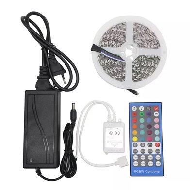 RGBWW LED Strip 5 meter 5050   300 LED's Warm Wit & Kleur Dimbaar   5 Pins LED Strip 12V met 44 toetsen Afstandsbediening IP20