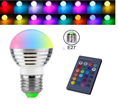Magic Led Lamp Kleur | Led Bulb | RGBW 3 Watt Led Lampje | IR Afstandbediening | 16 Kleuren | Dimbaar | E27 Fitting