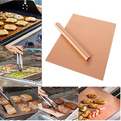 Barbecue Matje | Ovenbeschermer | BBQ Matje Ovenbestendig | Oven Mat Koper Teflon | Herbruikbaar & Anti kleef | 2 stuks van 40*33 cm
