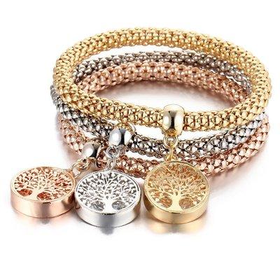 Tree of Life Armband | Set van 3 Tree of Life Crystal Alloy Armbanden met Bergkristallen | Goud - Zilver - Rosegoud