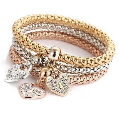 Hearts of Life Armband | Set van 3 Hartjes Crystal Alloy Armbanden met Bergkristallen | Goud - Zilver - Rosegoud