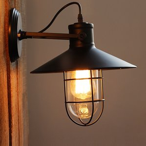 Stoere Robuuste Wandlamp | Vintage Retro Bar Cafe Style Hang Wand Lamp | Industriële Hanglamp | Inclusief Edison Filament Lichtbron