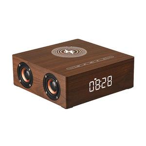 3 in 1 Houten Draadloze Wekker Qi Charger met 4 Speakers | Draadloos Houten Qi Oplader | Draadloze Bluetooth Speaker Hout | Retro Style