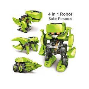 4 in 1 Solar Robot | Bouwpakket van 4 verschillende Robots | Zonne Energie Robot | T4 ECO Solar Robot Groen